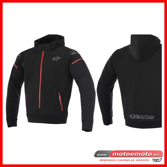 alpinestars giacca da moto sektor tech con cappuccio nero rosso