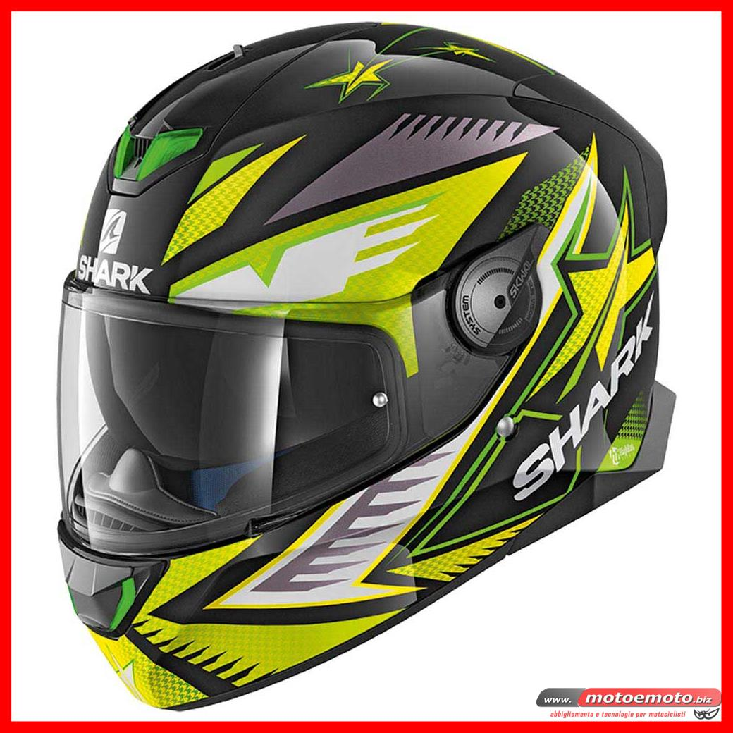Shark Skwal 2 Draghal KGY Nero Verde Giallo Fluo Lime Casco Moto Luci Led