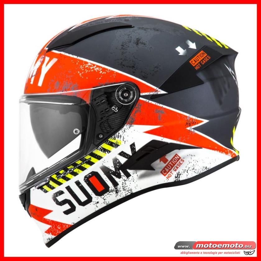 Casco integrale moto carbonio Suomy Speedstar Asymmetric arancione Fluo Taglia M