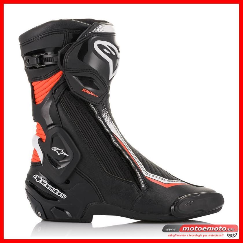 Détails sur Bottes Moto Alpinestars Smx Plus V2 Noir Blanc Rouge Fluo Piste